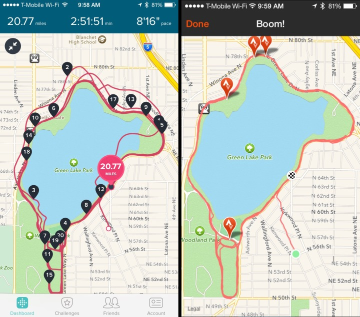 Side by side Strava and Fitibit Surge